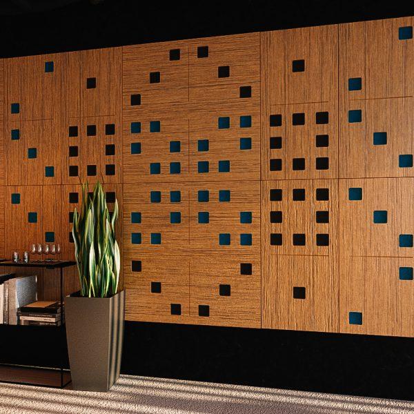Akustická drevená stena